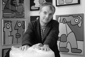 Thierry Noir nel suo atelier - Foto: Emilio Esbardo